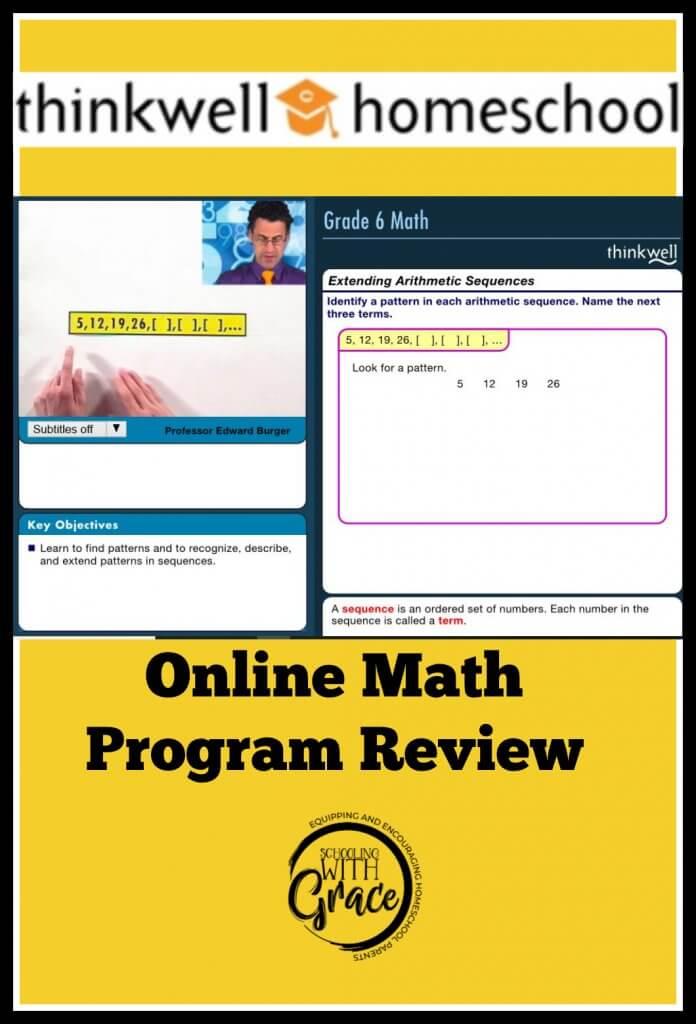 Thinkwell homeschool math program